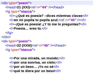 Becquer in the XML-TEI of CH